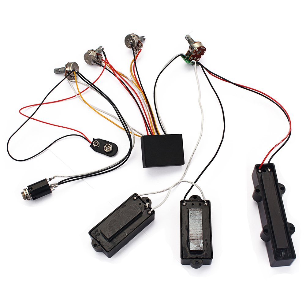 3 Band Eq Preamp Circuit Bass Guitar Wiring Harness And Jb Pickup Set Black