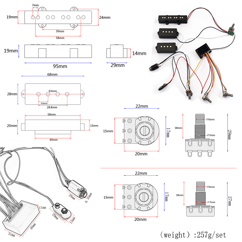 3 Band Eq Preamp Circuit Bass Guitar Wiring Harness And Jb Pickup Violin Diagram Set Black