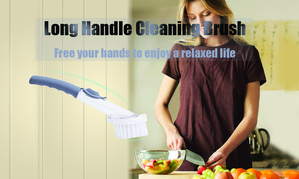 Multi-functional Long Handle Brush Kitchen Pot Scrubber Cleaning Tool