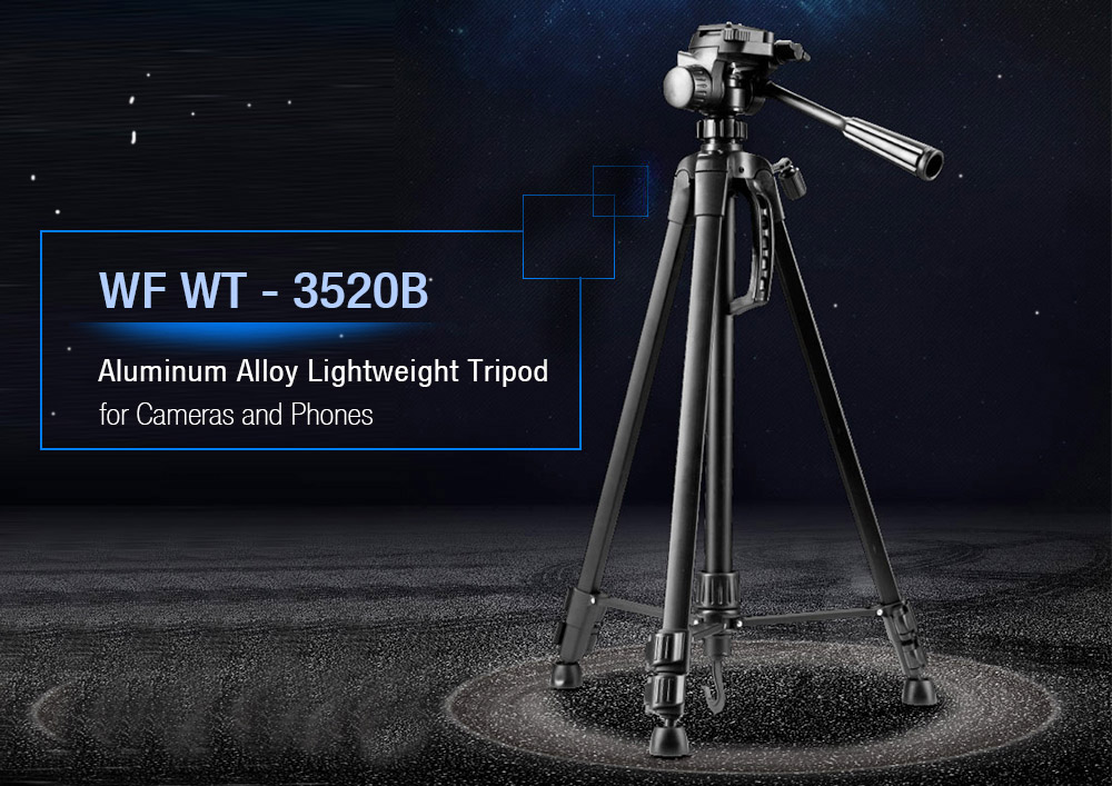 WF WT - 3520B Aluminum Alloy Lightweight Tripod with Bluetooth Remote Controller for SLR / DSLR Camera and Phone