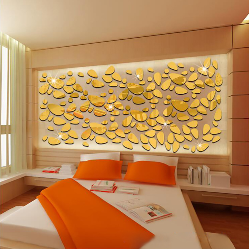 Simple Decorative Pebbles Three-dimensional Mirror Wall Stickers ...