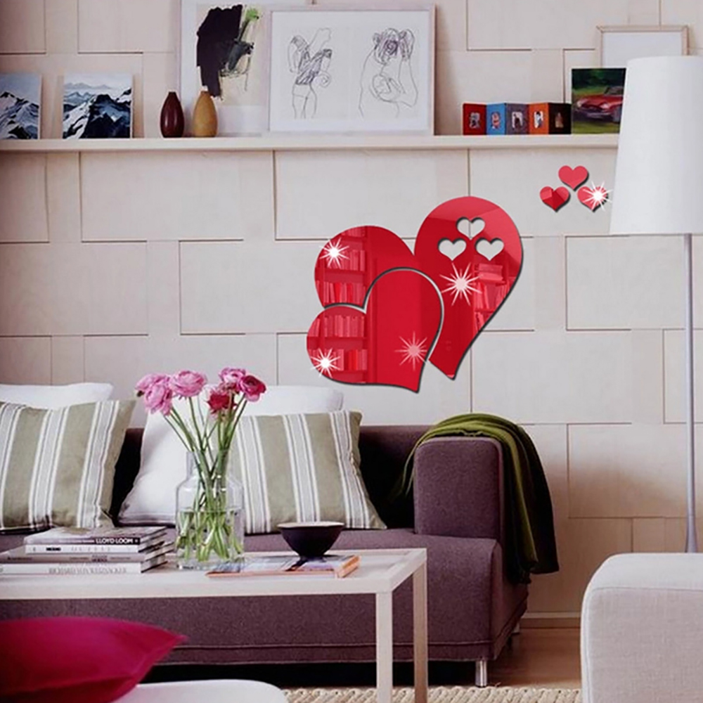 DIY Three-dimensional Mirror Heart-shaped Wall Stickers- Red