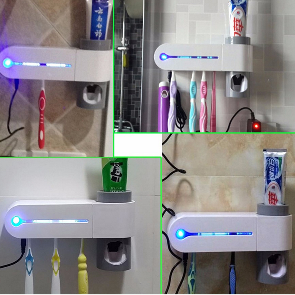 2 in 1 Antibacterial UV Light Ultraviolet Automatic Toothpaste Dispenser Sterilizer Toothbrush Holder Cleaner- White