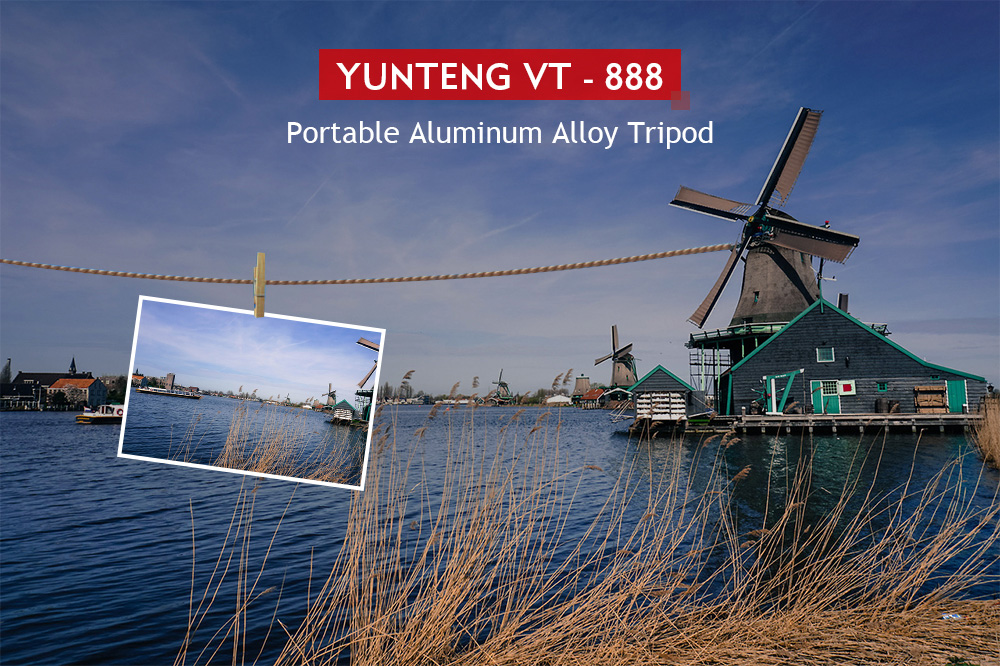 YUNTENG VT - 888 Portable Aluminum Alloy Tripod with Three-way Head for SLR / DSLR Cameras