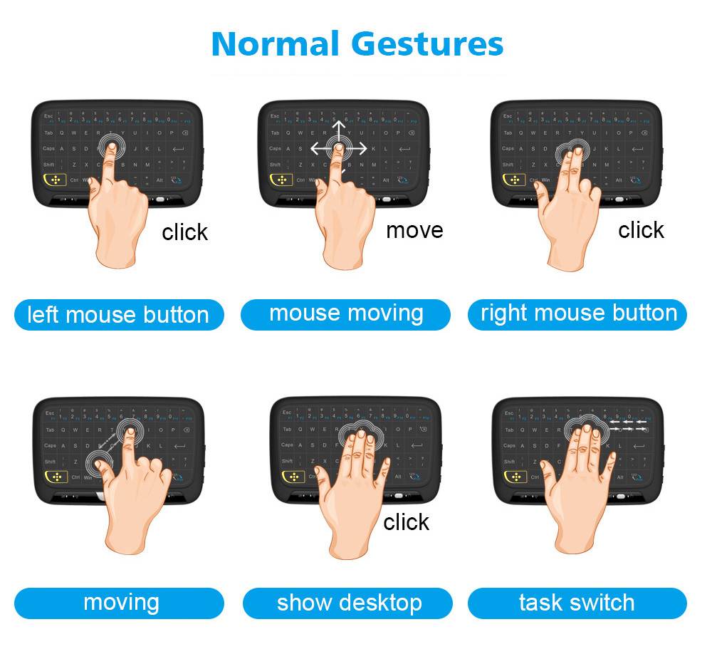 H18 2 4g Wireless Touch Screen Air Mouse Remote Control