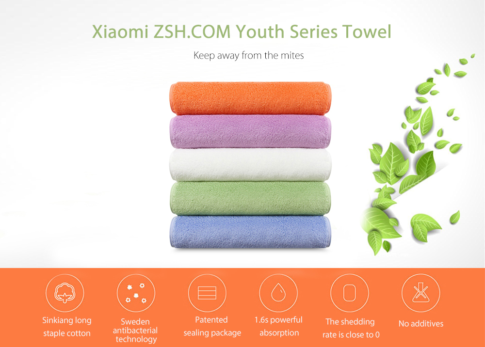 Xiaomi ZSH.COM Antibacterial Long-staple Cotton Towel Youth Series- Blue