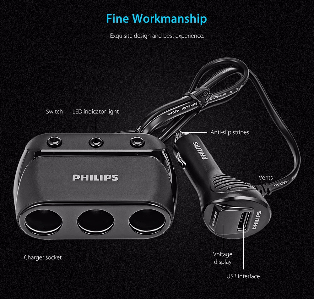 Xiaomi Philips Dlp2019 Car Charger With Cigarette Lighter 1968 Overcurrent Protection Device At Auto Cigarete Power Outlet Multifunctional 3 Sockets Black