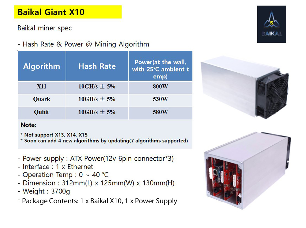 Baikal Giant X10 Bitcoin Coin Miner Mining Machine