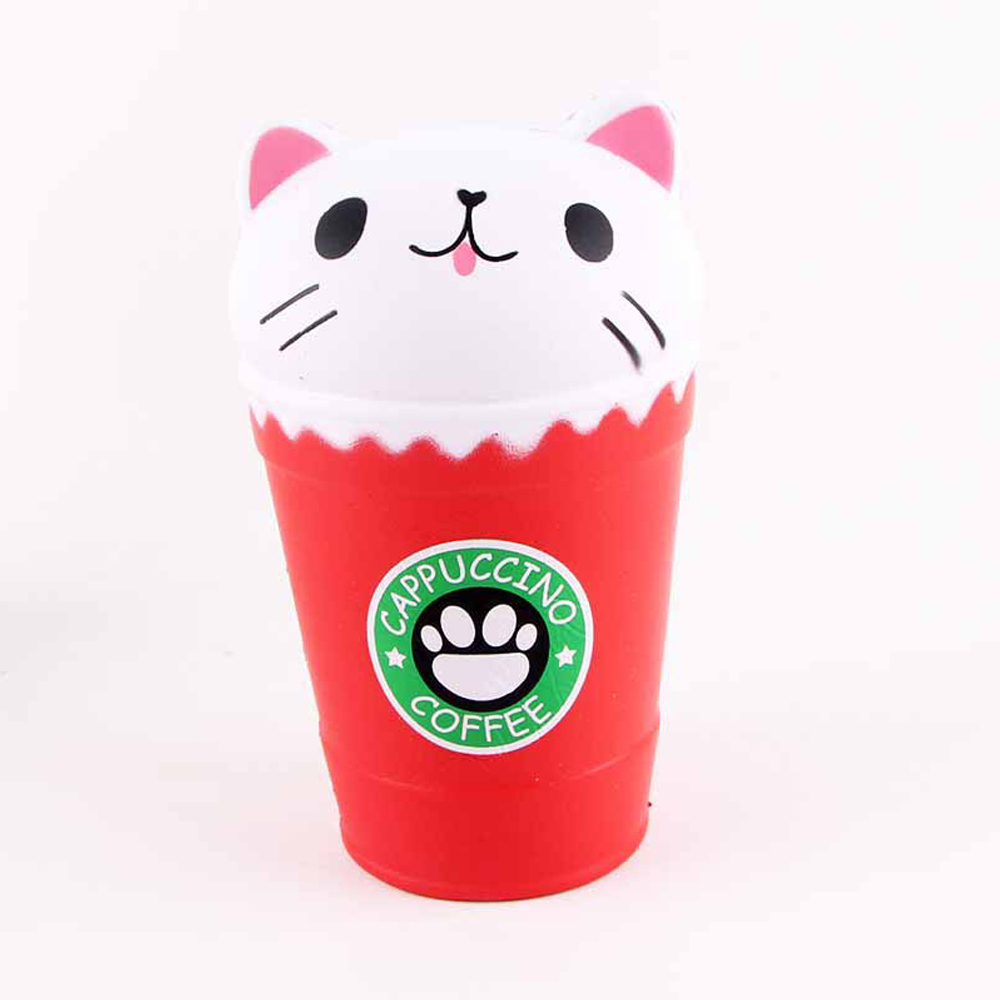 Jumbo Squishy Squeeze Coffee Cups Cat PU Collection Gift Soft Toy