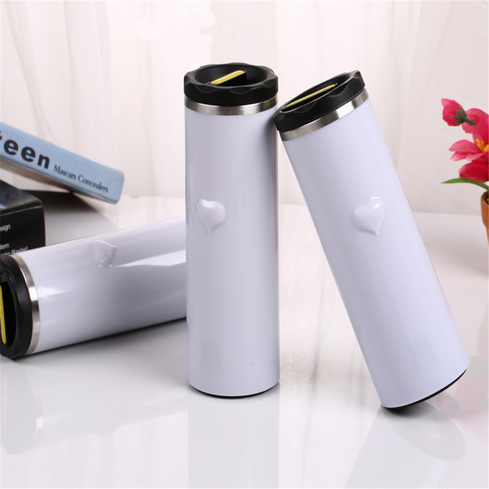 380ML Love Heart Coffee Tea Thermos Bottle Digital LED Display Stainless Steel Thermal Bottle Vacuum Cup Thermometer