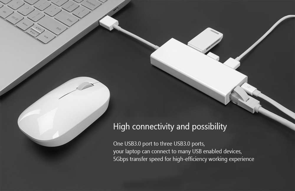 Xiaomi Multifunctional USB3.0 to RJ45 Ethernet Adapter Converter / USB Hub- White