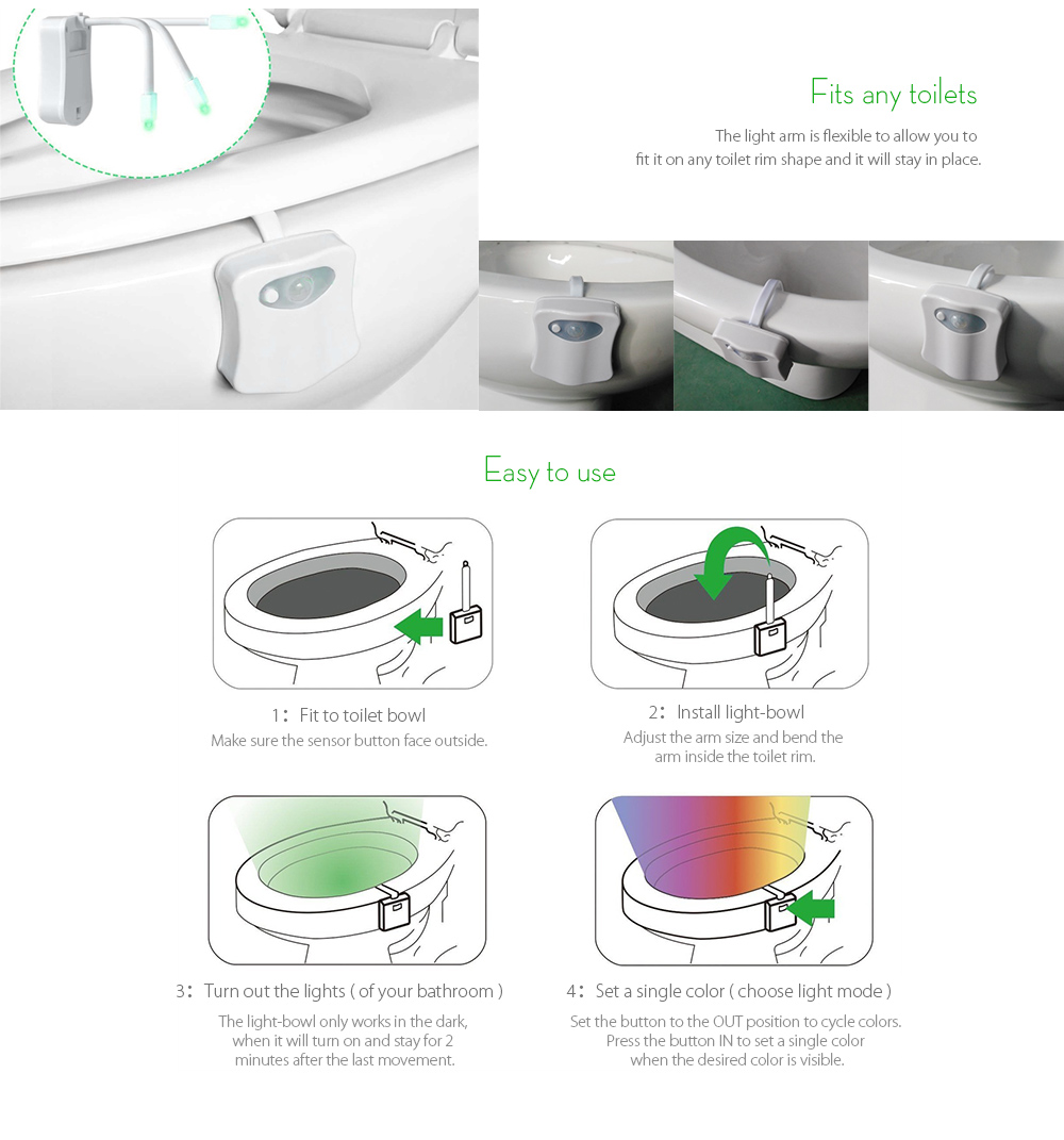Motion Activated Toilet Nightlight Led Bowl Light 331 Free Wiring A Sensor Sunnest Night Seat 8 Color Changing