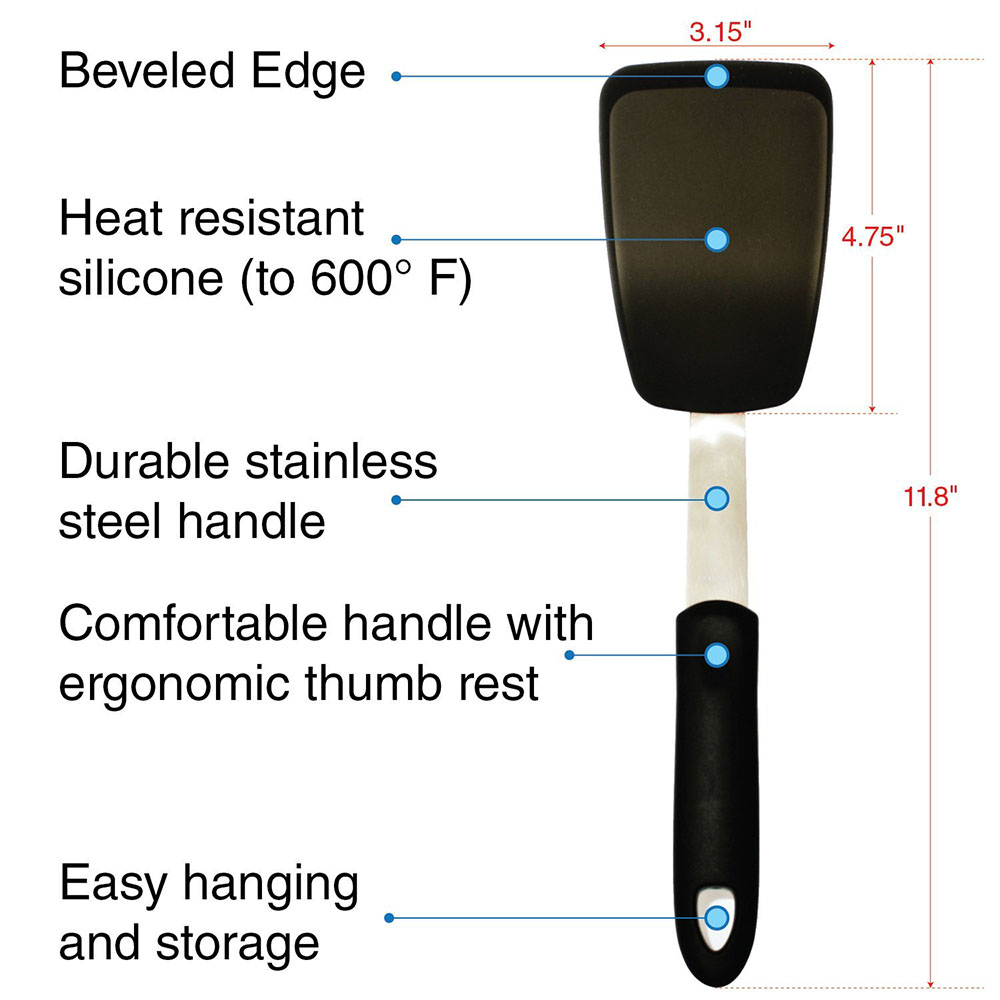 Silicone Spatula - Heat-Resistant To 600F - Flexible Turner with Durable Stainless Steel - Beveled Edge for Easy Flippin