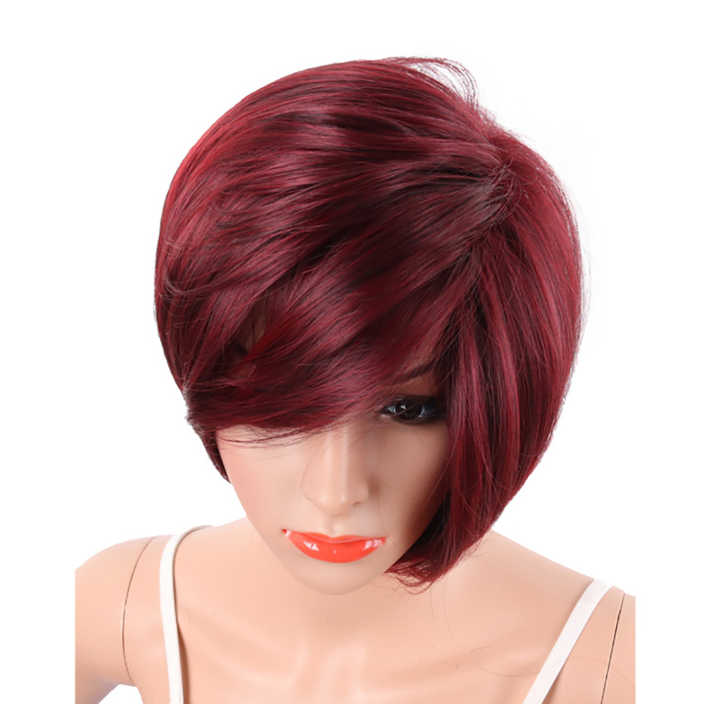 Wine Red Fashion Bob Style Short Straight Synthetic Hair Wigs for Women