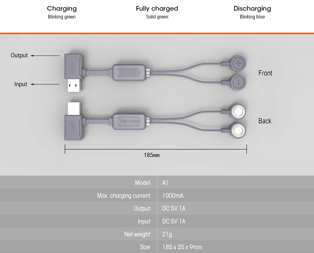 Folomov A1 Magnetic Usb Charger For Li Ion Battery 640 Free Diagram Fpv Wiring Basic Lithium Circuit Portable With Power Bank Function Battleship