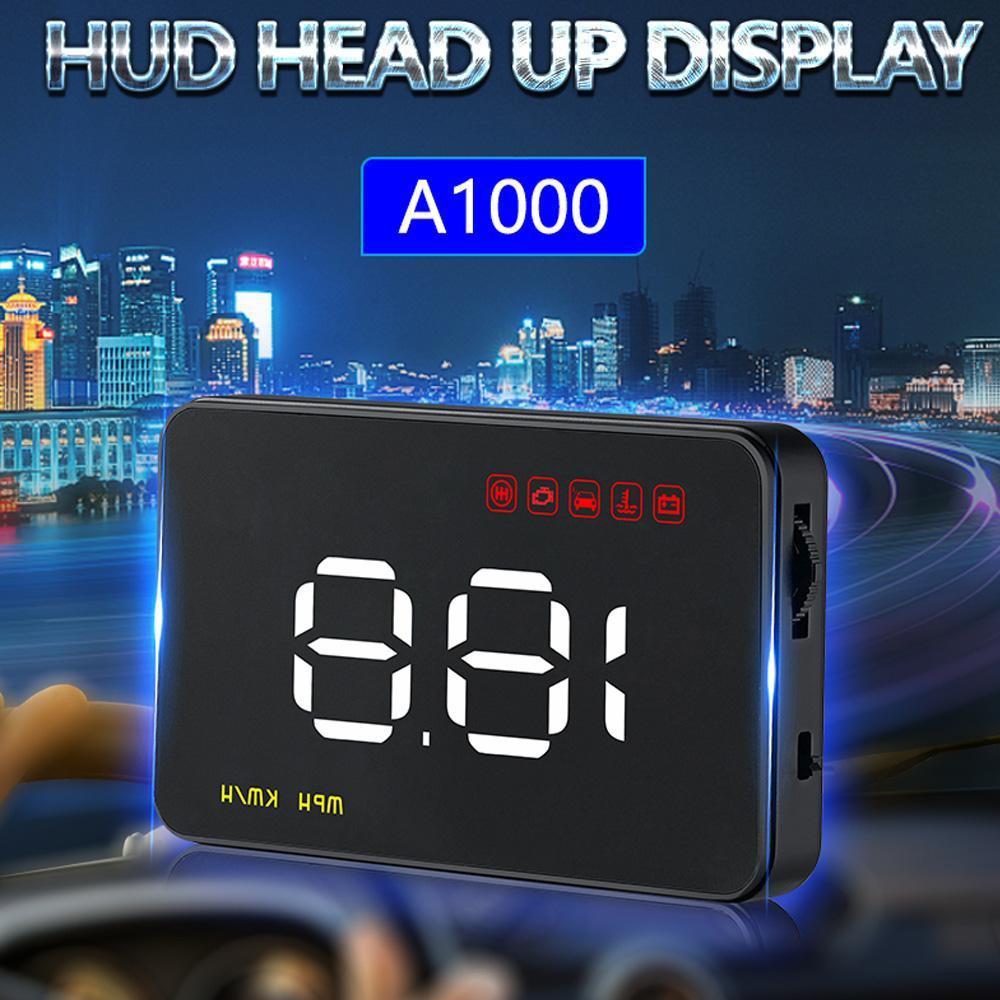 A1000 Car HUD Head Up Display OBD with Vehicle OverSpeed Speedometer Warning Alarm