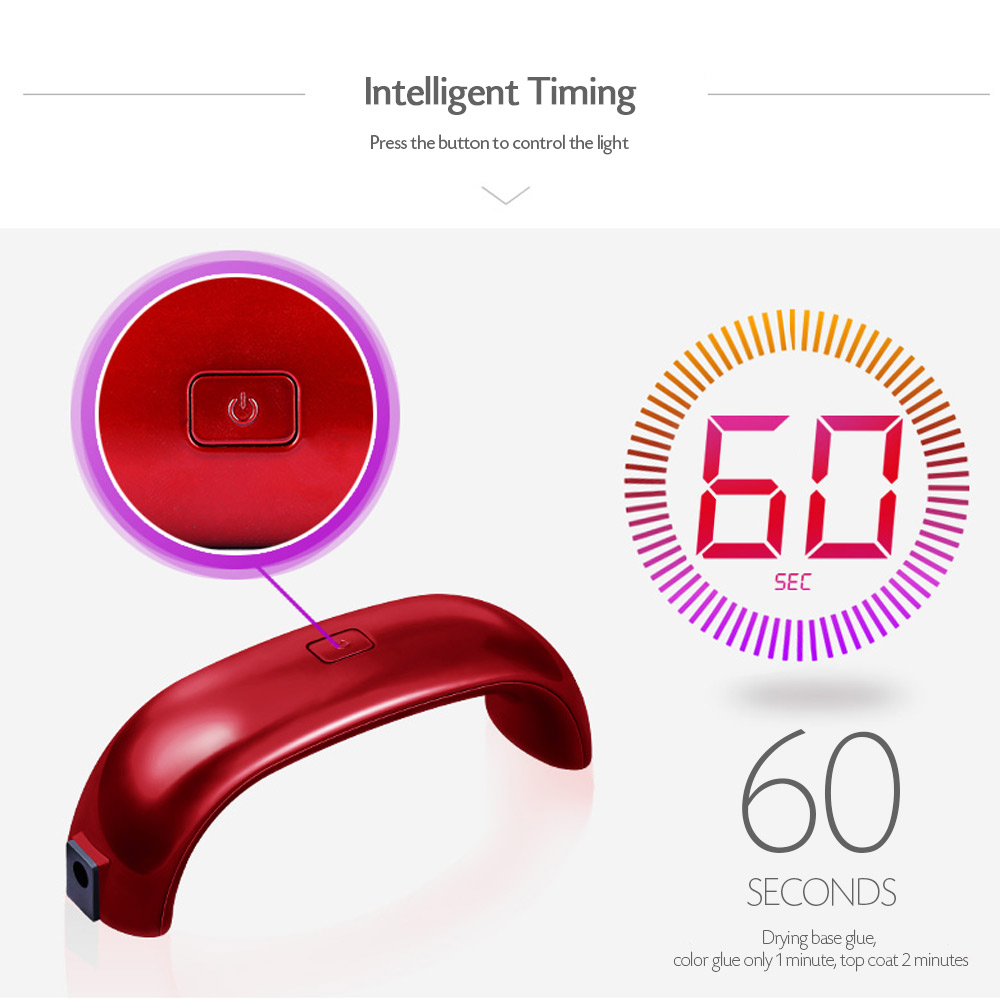 Mini Portable Phototherapy Manicure Nail Drier USB LED Lamp 12W- Red