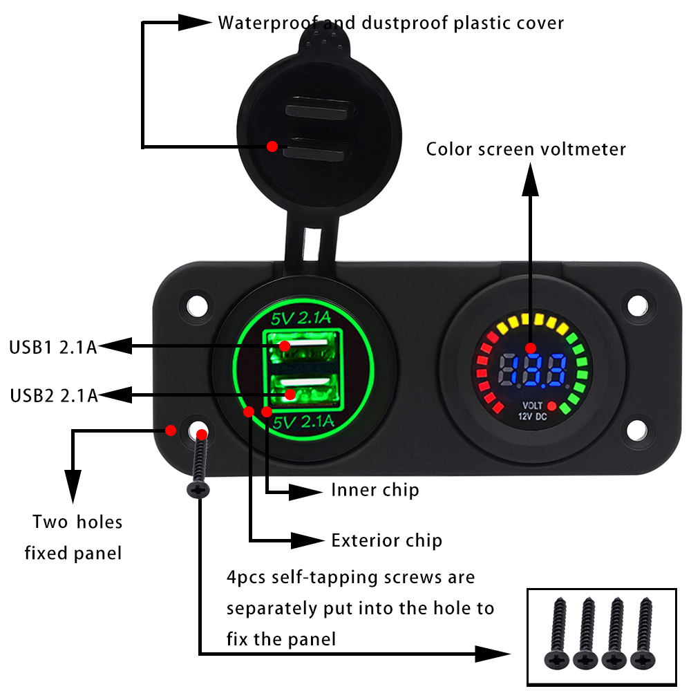 Dual Usb 42a Charger Adapter And Led Voltmeter Panel Waterproof 12v Motorcycle Wiring Diagram 24v For
