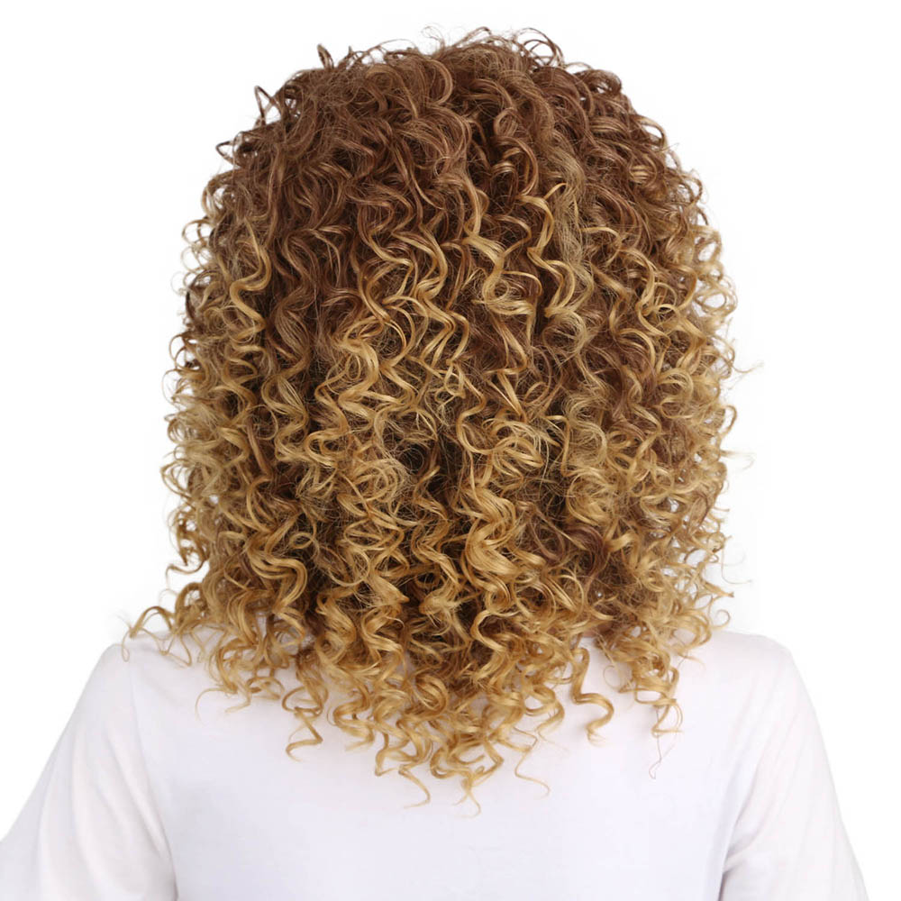 Golden Blonde Afro Curly High Temprature Fiber Synthetic Short Hair Wig for Fashion Girls