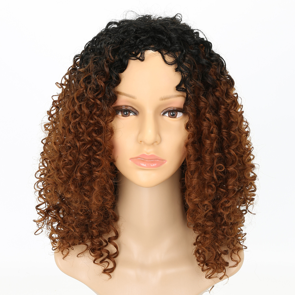 Fashion Dark Root Medium Brown Ombre Hair Synthetic Long Curly Afro African American Wigs for Women