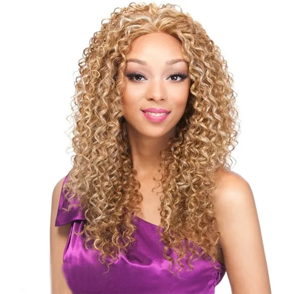 Light Blonde Afro Kinky Curly Long Hair Synthetic Wig for African American Women