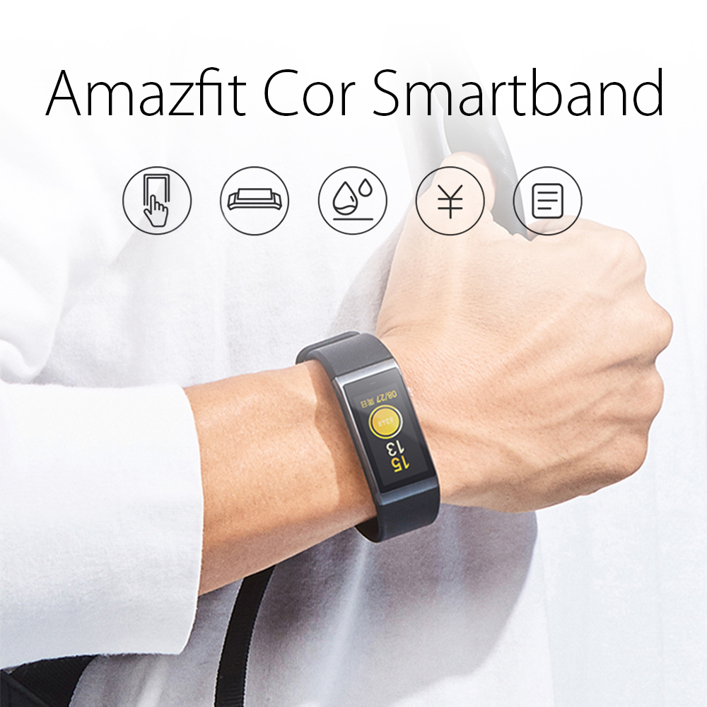 Original Xiaomi AMAZFIT Cor Smartband Bluetooth 4.1 IPS Colorful Screen 50 Meters Waterproof Heart Rate / Sleep Monitor- Black