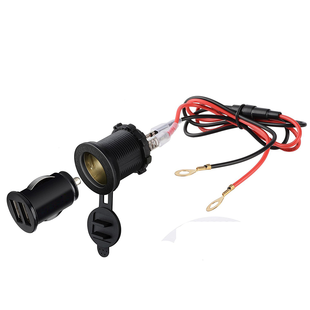 3in1 Waterproof Motorcycle Scooter Cigarette Lighter Socket Power Plug + Dual 3.1A USB Charger Socket + 60CM Power Cable