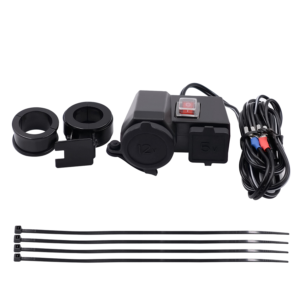 Waterproof 5v 21a Dual Usb Output Motorcycle Handlebar Clamp Power Wiring To Adapter Charger With Cigarette