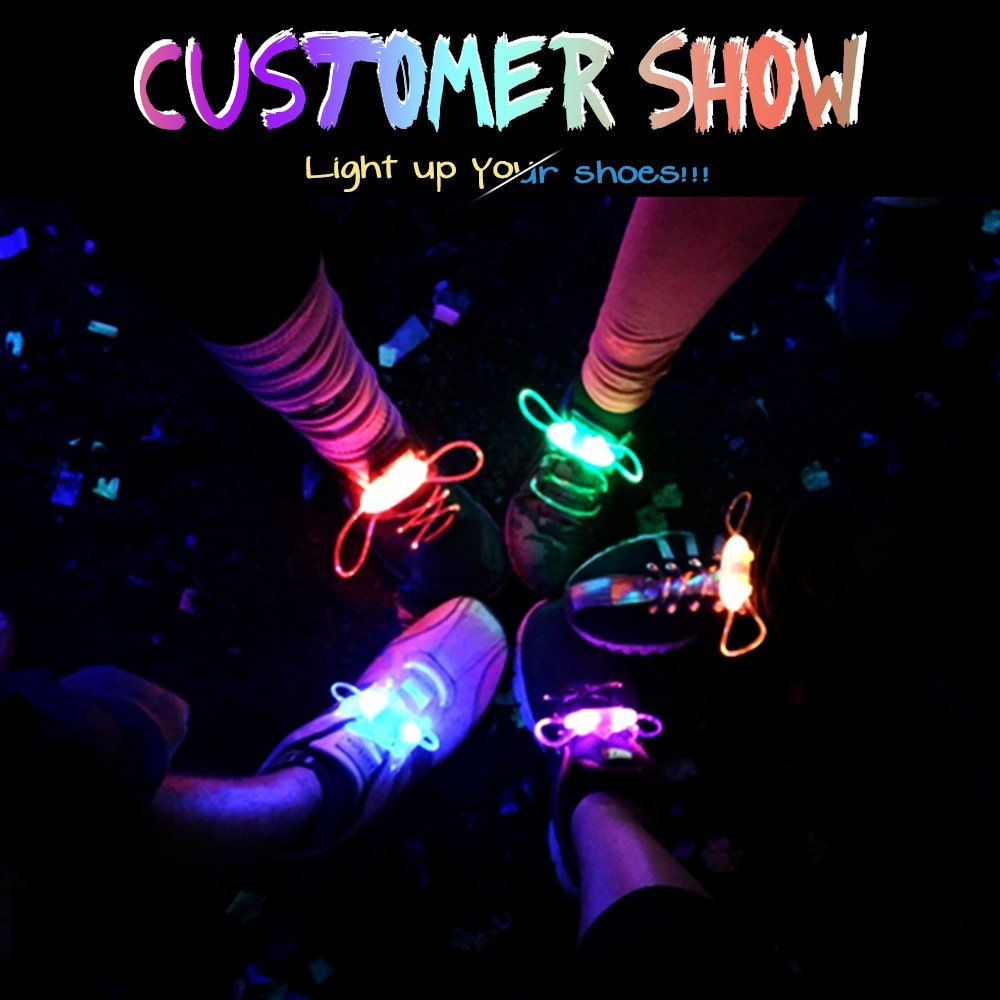BRELONG Waterproof Luminous LED Color Shoelaces - A pair