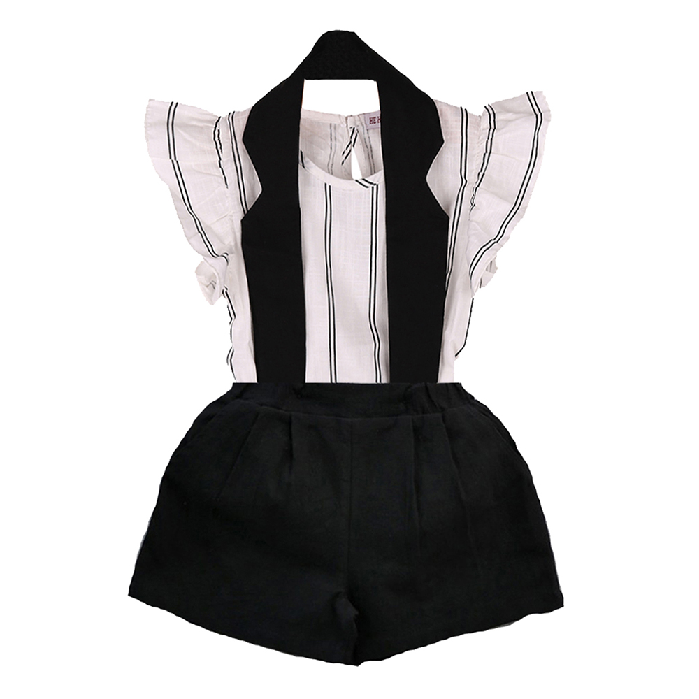 2pcs Girl's Set Striped Short Sleeve T-shirt Suspender Solid Color Pants