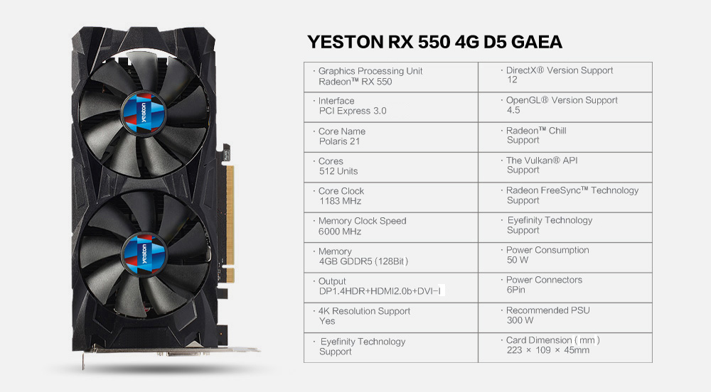 Yeston RX550 4G D5 GC Graphics Card