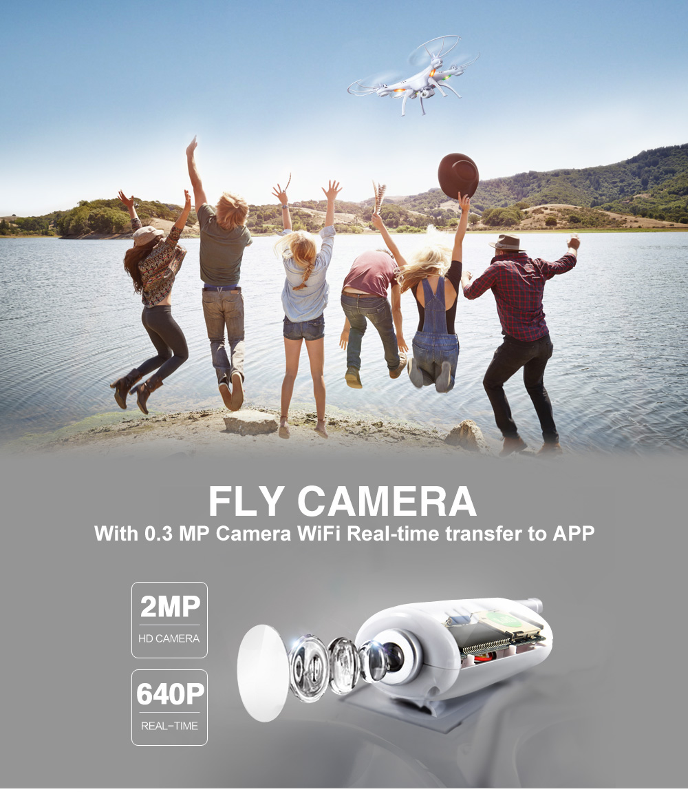 SYMA X5SW RC Drone WiFi Camera Quadcopter Real-time Transmit Headless Mode- White 1Pc
