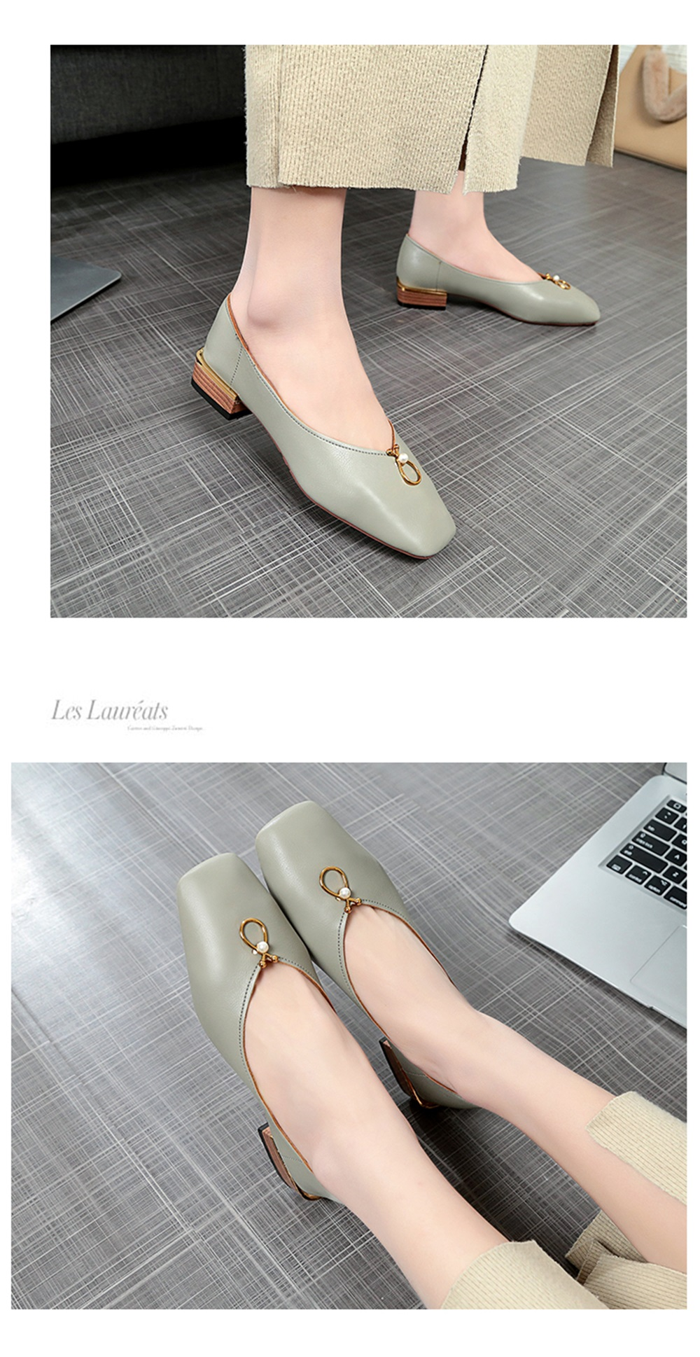 Pearl Square All-match Thick Shallow Mouth Shoes