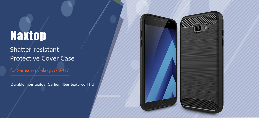 Naxtop Carbon Fiber Textured TPU Shatter-resistant Soft Protective Cover Case for Samsung Galaxy A7 2017