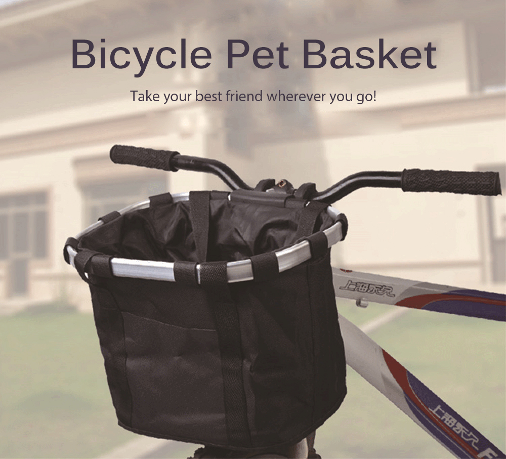 Bicycle Pet Basket Folding Easy-install Detachable Bike Front Cycling Bag