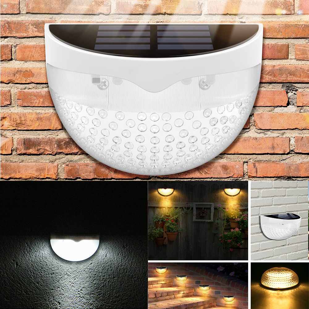 6 LED Super Bright Solar Powered Light Wall Mount Control Outdoor Garden Fence Lamp Quarter Ball Shape  -  WHITE