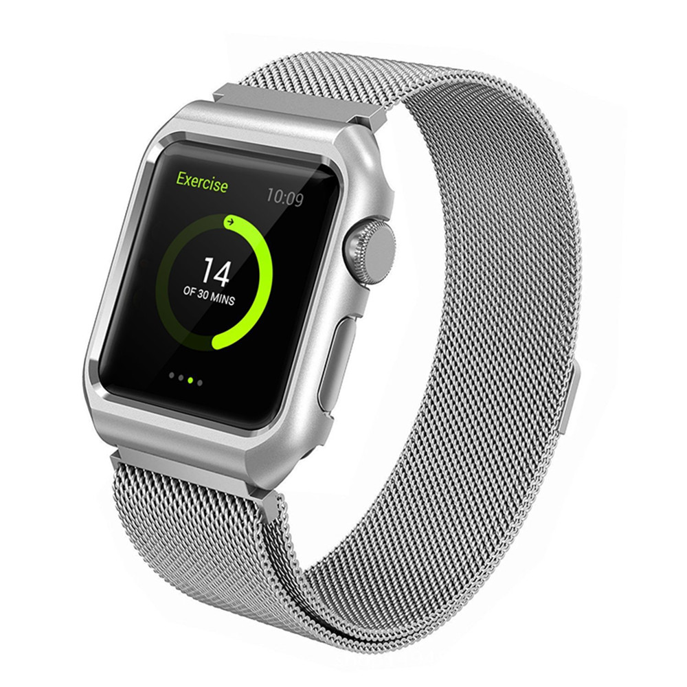 Milanese Loop Replacement Band with Metal Protect Case for Apple Watch 42mm Series 3
