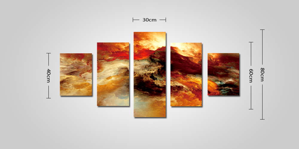 God Painting Modern Roaring Waves Print Frameless Decorative Canvas Wall Decor 5pcs