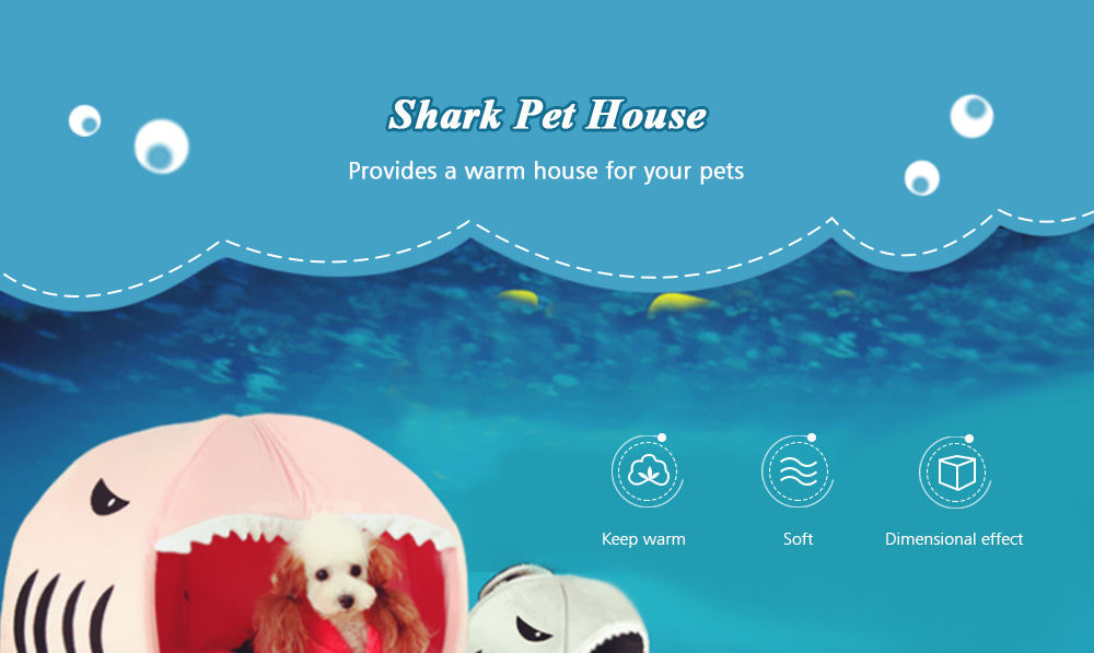 HESSION Washable Pet House Shark Shape Dog Cat Puppy Bed with Cushion