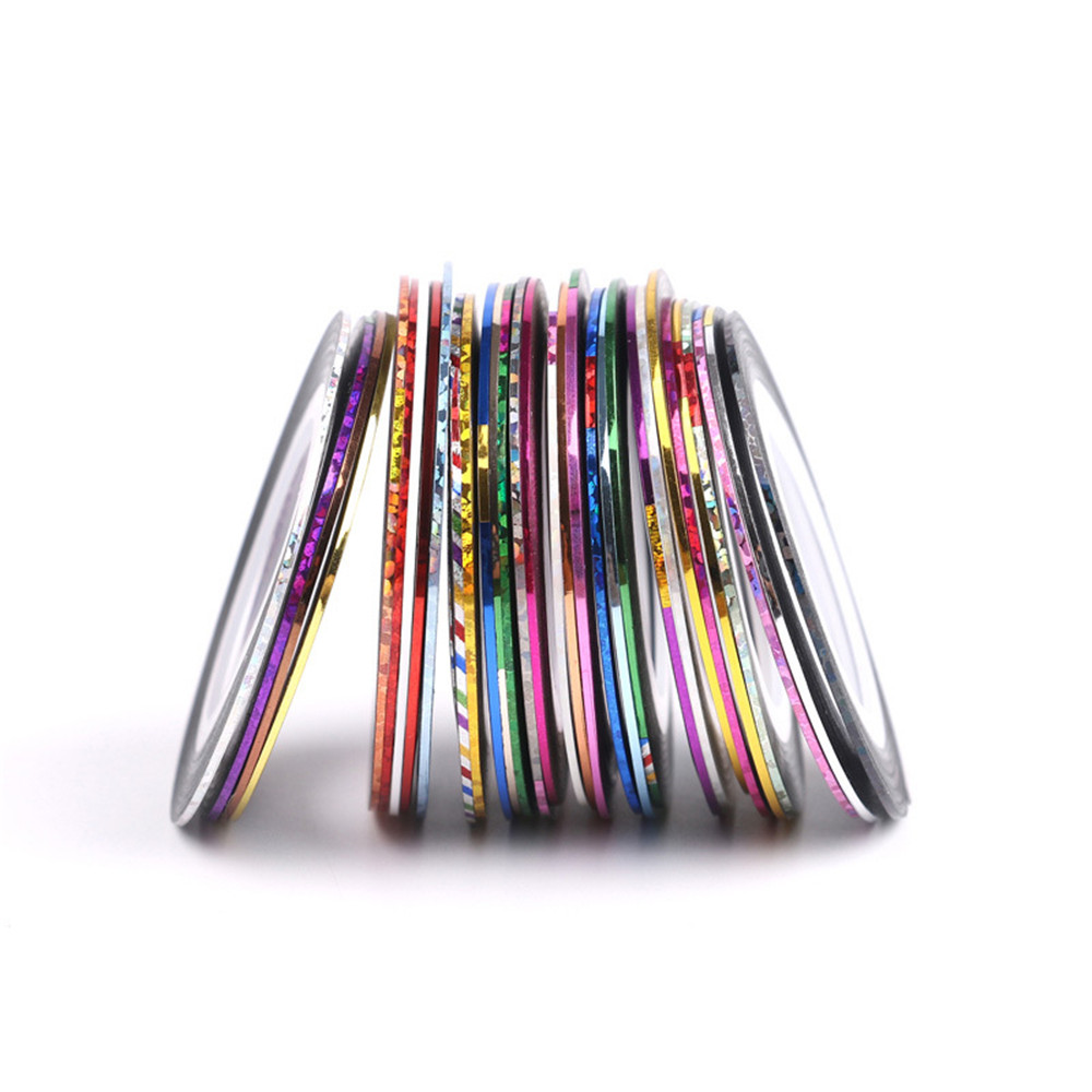 30PCS Color Gold and Silver Line Mixed Nails Jewelry Painting
