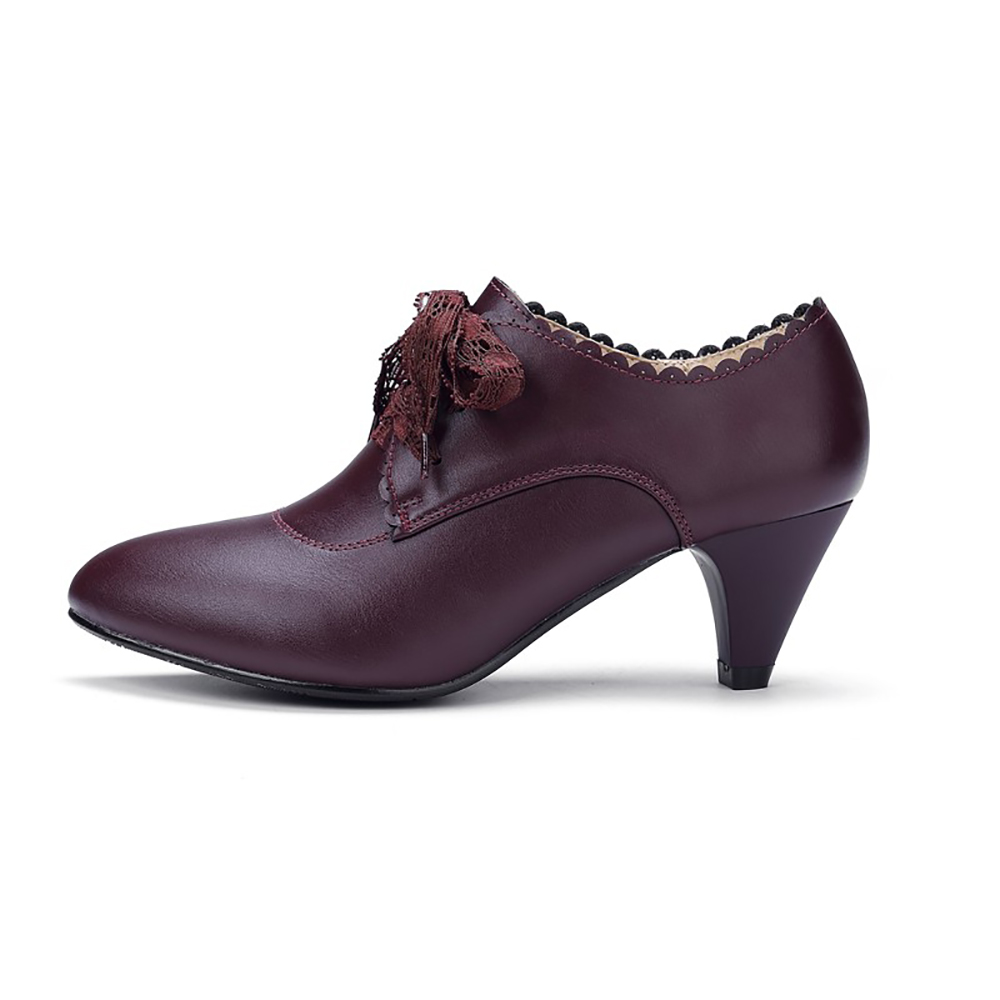 YALNN Ladies Leather New Dark Autumn Single High Heels Lace Shoes