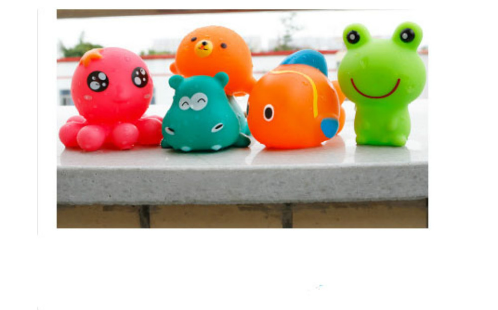 Lovely Rubber Animals Baby Bath Toys Floating Squeeze Make Sound 1 ...
