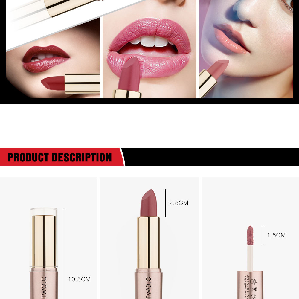 OTWOO Two in One Waterproof Matte Lipstick and Lip Gloss