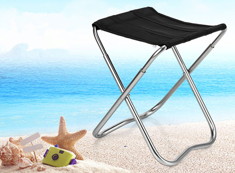 Small Portable Stainless Steel Fishing Seat Travel Barbecue Beach Backpacking Outdoor
