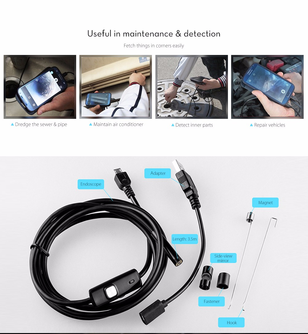 3.5m Mini Android Endoscope with Waterproof IP67 and Inspection Snake Tube Camera- Black
