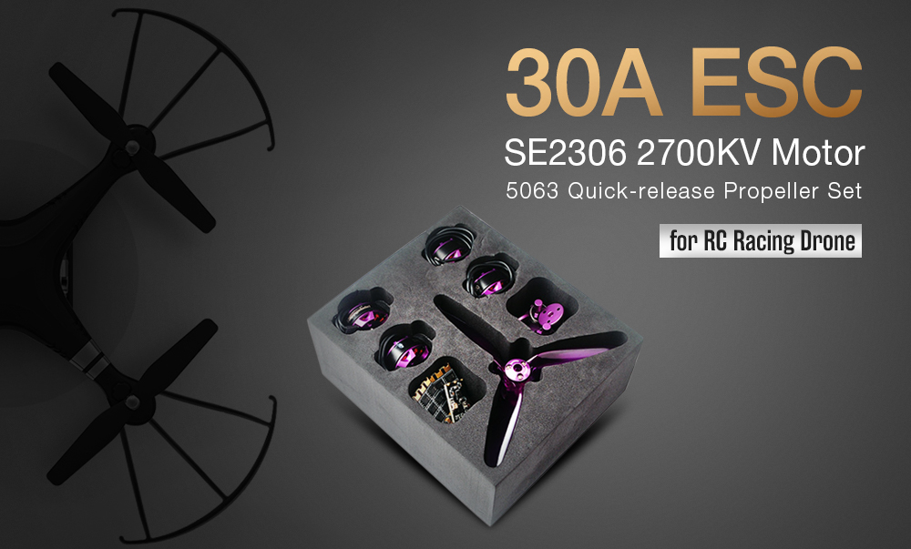 30A ESC + SE2306 2700KV Motor + 5063 PC Quick-release Propeller Set for RC Racing Drone