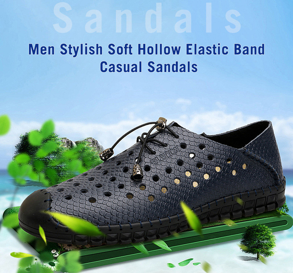 Stylish Soft Hollow Elastic Band Casual Sandals for Men