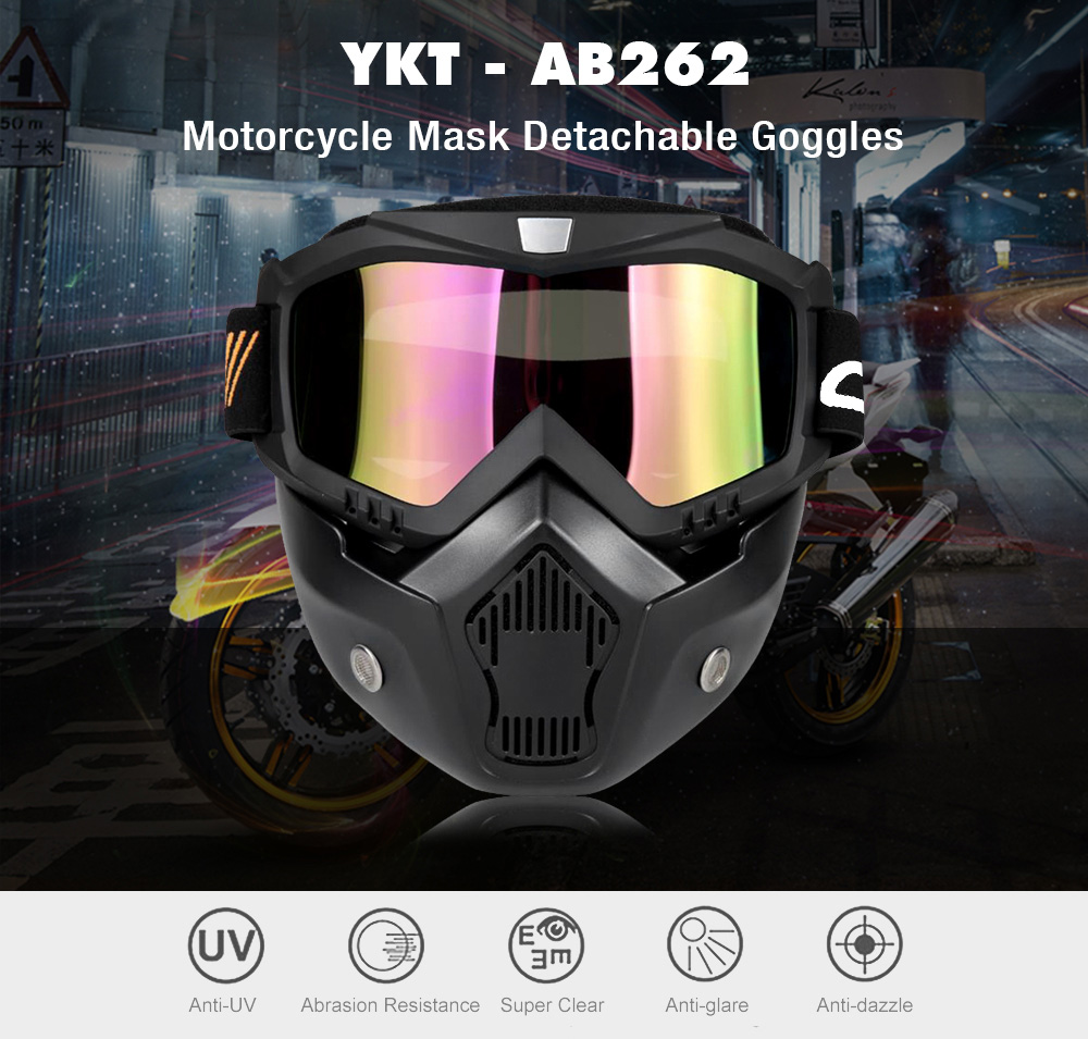 YKT - AB262 Motorcycle Mask Detachable Goggles and Mouth Filter for Open Face Helmet Motocross Ski Snowboard
