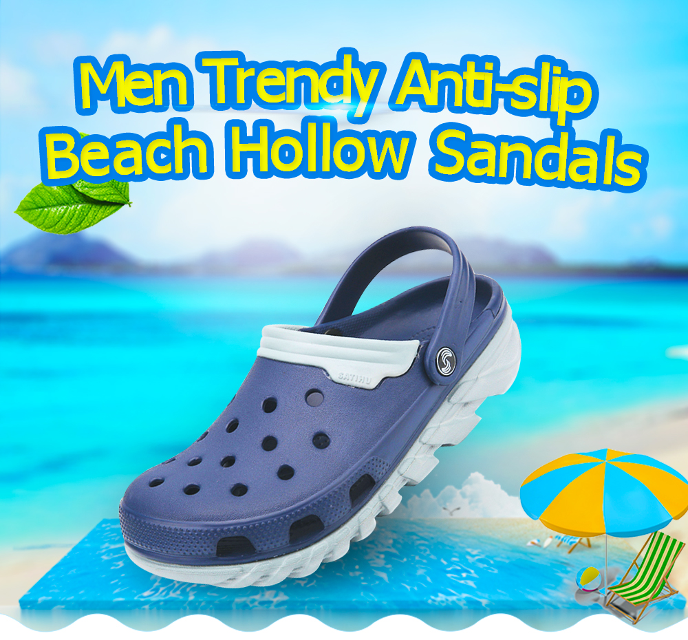 Trendy Anti-slip Beach Hollow Sandals for Men