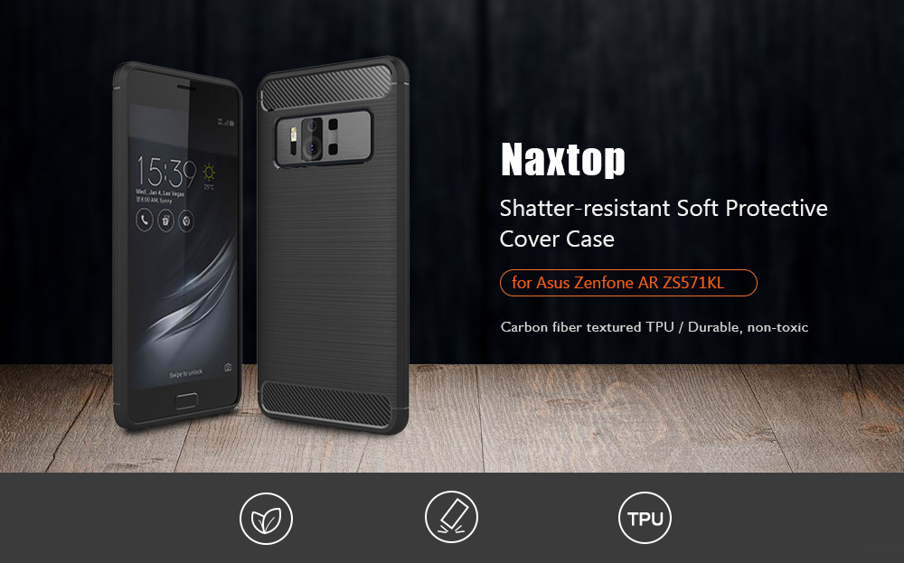 Naxtop Carbon Fiber Textured TPU Shatter-resistant Soft Protective Cover Case for Asus Zenfone AR ZS571KL